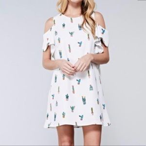 Do + Be | White & Catus Print Dress Cold Shoulder